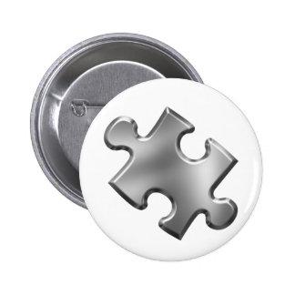 Plata del pedazo del rompecabezas del autismo pin redondo 5 cm