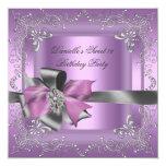 Plata del rosa de la lila de la fiesta de comunicados personalizados