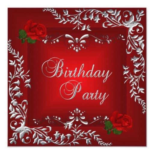 Plata del rosa rojo de la fiesta de cumpleaños invitaciones personalizada