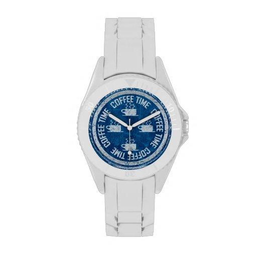 Plata del tiempo del café en azul relojes de pulsera