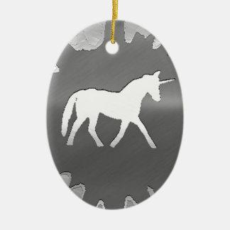 plata del unicon del arte del metal ornamento de navidad
