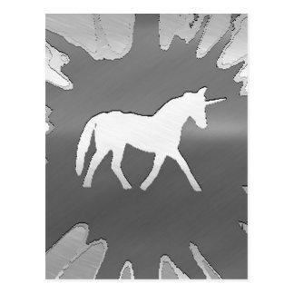 plata del unicon del arte del metal postales