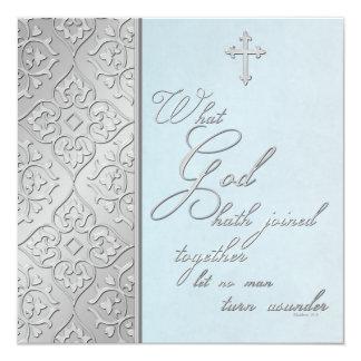 Plata e invitación que se casa enrollada azul