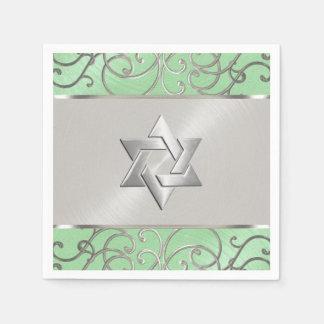 Plata elegante de la verde menta de Mitzvah del Servilleta De Papel