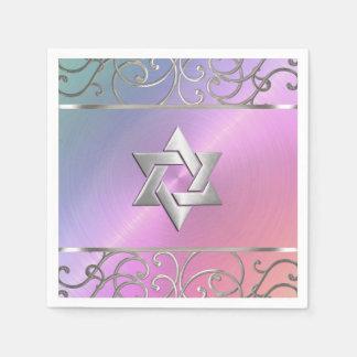Plata elegante del rosa de la perla de Mitzvah del Servilletas De Papel