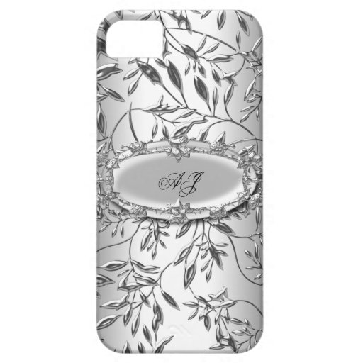 plata elegante real con monograma del damasco del  iPhone 5 Case-Mate fundas