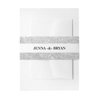 Plata elegante simple y blanco del brillo cintas para invitaciones