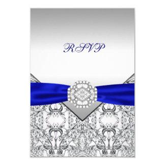 Plata elegante y azul real que casan RSVP Comunicados