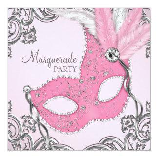 """Plata elegante y fiesta rosado de la mascarada invitación 5.25"""" x 5.25"""""""