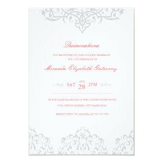 Plata elegante y invitación rosada de Quinceañera Invitación 12,7 X 17,8 Cm