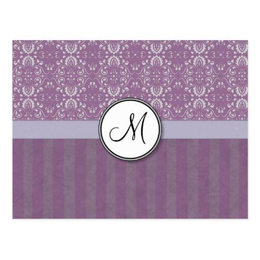 Plata en el damasco de la lavanda con las rayas y  tarjetas postales