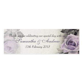 Plata esterlina del vintage subió casando etiqueta plantilla de tarjeta personal