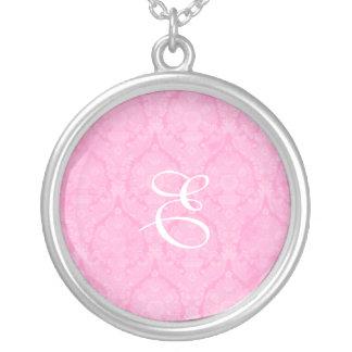 Plata esterlina Neklace del monograma rosado del c Grimpolas