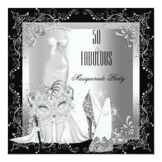 """Plata fabulosa de 50 cumpleaños del fiesta de la invitación 5.25"""" x 5.25"""""""