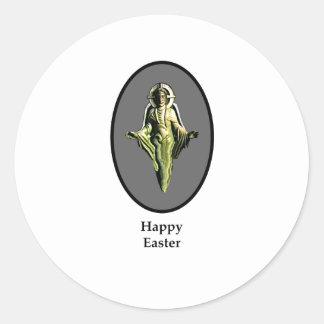 Plata feliz de Cantorbery de la imagen de Pascua Pegatina Redonda