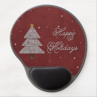 Plata feliz del día de fiesta del árbol de navidad alfombrilla de ratón con gel