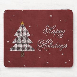 Plata feliz del día de fiesta del árbol de navidad tapetes de ratón