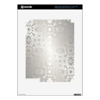 Plata, floral, enrejado, damasco, elegante, pegatinas skins para iPad 3