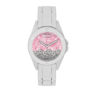 Plata + Flores rosadas + Bokeh - reloj femenino