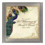 Plata formal del pavo real y del boda de la pluma invitación 13,3 cm x 13,3cm