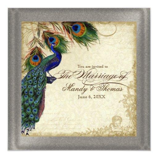 """Plata formal del pavo real y del boda de la pluma invitación 5.25"""" x 5.25"""""""