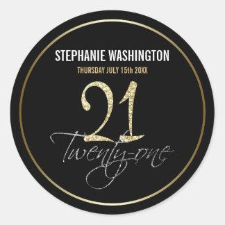 Plata formal, negro y 21ra fiesta de cumpleaños pegatina redonda