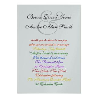 plata gay del orgullo del arco iris LGBT del boda Comunicado Personalizado
