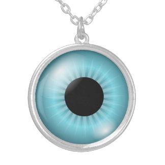 Plata media de la imagen del globo del ojo colgante redondo