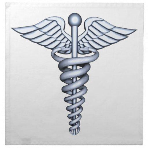 Plata médica del símbolo servilleta imprimida
