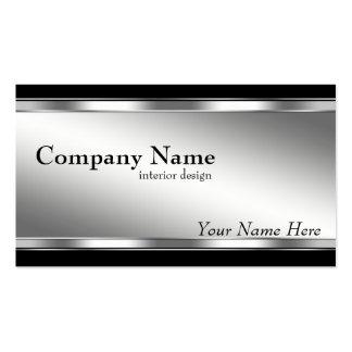 Plata metálica elegante y negro de la mirada tarjetas de visita