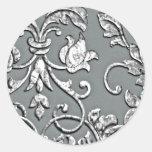 Plata metálica grabada en relieve del damasco de pegatina redonda