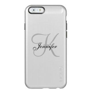 Plata metalizada atractiva y nombre negro del funda para iPhone 6 plus incipio feather shine