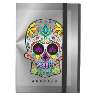 Plata metalizada brillante con el cráneo colorido