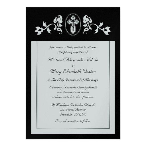 Plata metalizada - invitaciones ortodoxas del boda