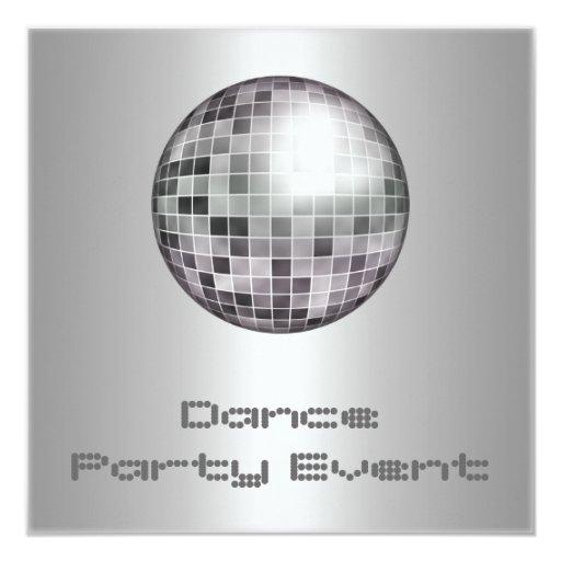 """Plata Mirrorball del acontecimiento del baile Invitación 5.25"""" X 5.25"""""""