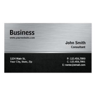 Plata moderna elegante profesional y metal negro tarjetas de visita