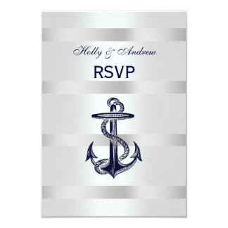 """Plata náutica V blanco RSVP del ancla de los Invitación 3.5"""" X 5"""""""