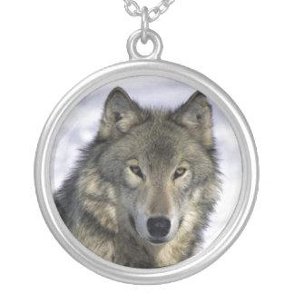 Plata Neckace del lobo gris Colgante Redondo