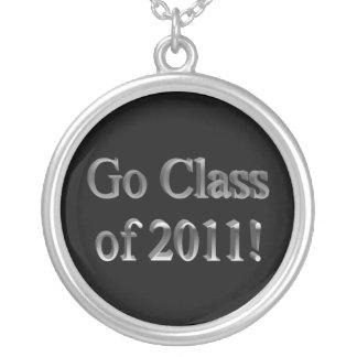 Plata negra de la clase de secundaria 2011 de la g colgante redondo