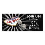 Plata negra del 50.o cumpleaños de Las Vegas Invitaciones Personalizada