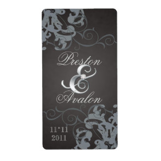 Plata negra del remolino Jeweled casando la etique Etiquetas De Envío