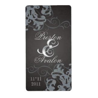 Plata negra del remolino Jeweled casando la etique Etiqueta De Envío