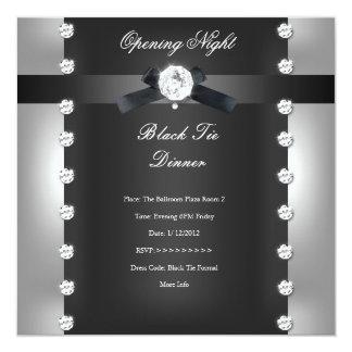 Plata negra formal de apertura del negocio invitación 13,3 cm x 13,3cm