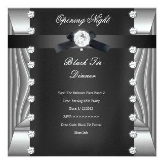 Plata negra formal del lazo negro de la noche de l anuncios