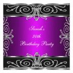 Plata negra magenta del trigésimo cumpleaños elega invitaciones personalizada