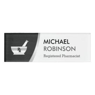 Plata negra moderna del logotipo del farmacéutico etiqueta con nombre