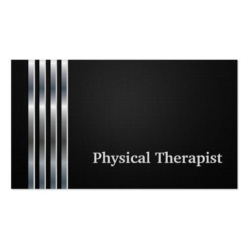 Plata negra profesional del terapeuta físico tarjeta de visita