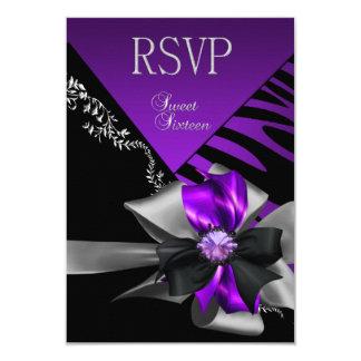 "Plata negra púrpura de la cebra del dulce 16 de la invitación 3.5"" x 5"""