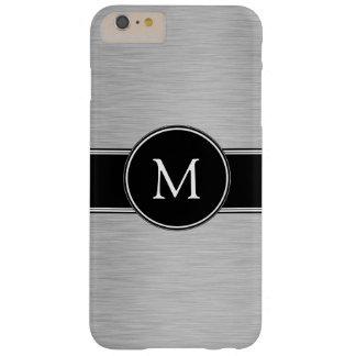 Plata, negro, blanco con su monograma funda barely there iPhone 6 plus