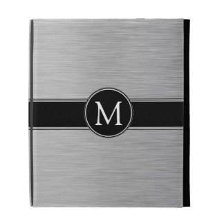 Plata, negro, folio blanco del iPad del monograma